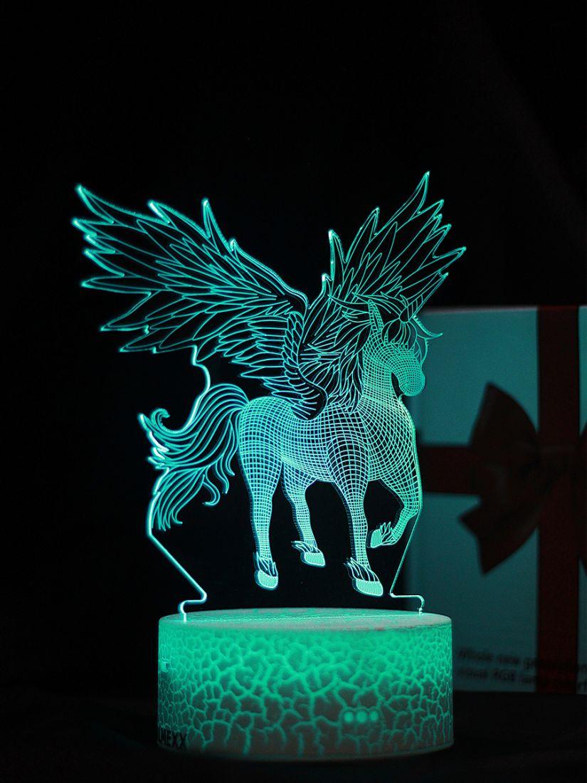 Светодиодный ночник PALMEXX 3D светильник LED RGB 7 цветов (крылатый конь)