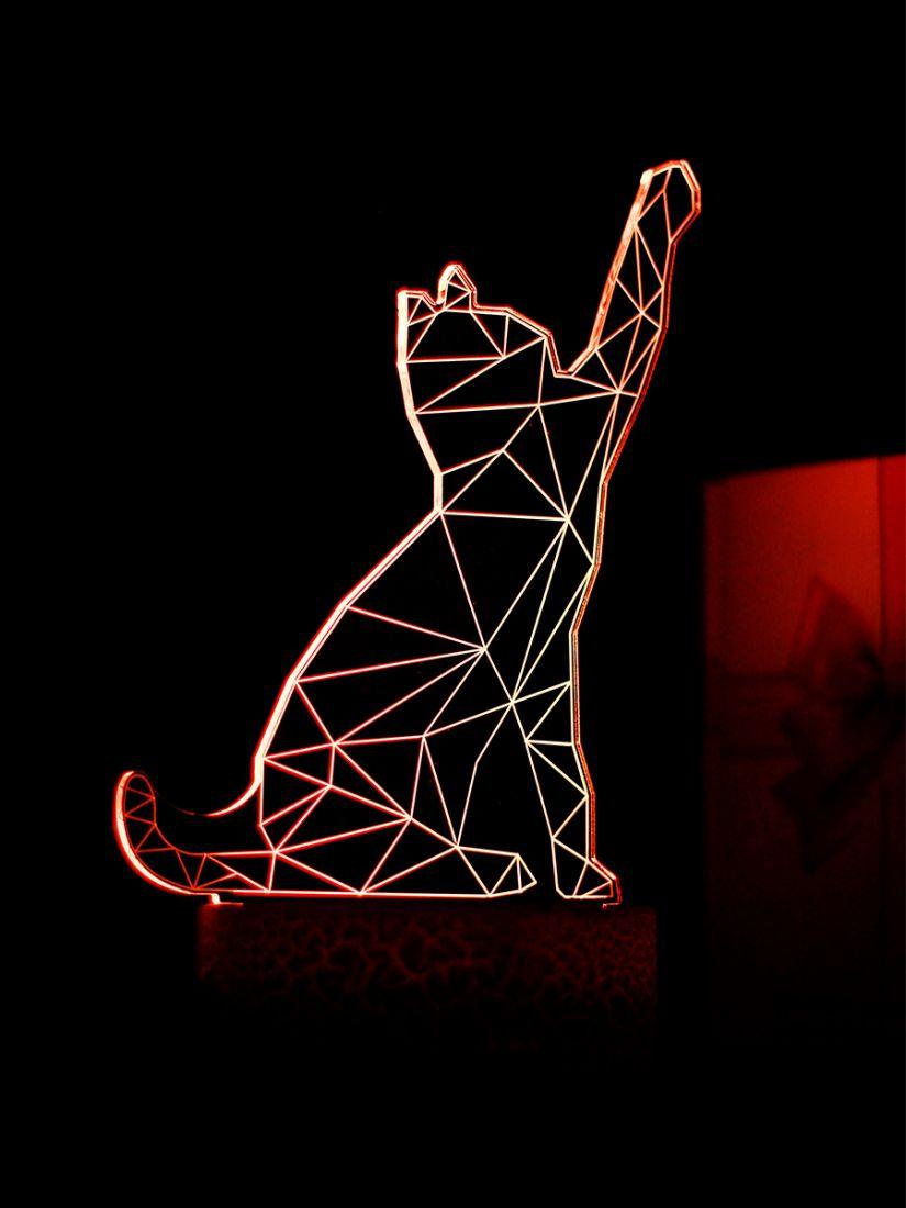 Светодиодный ночник PALMEXX 3D светильник LED RGB 7 цветов (кошка)