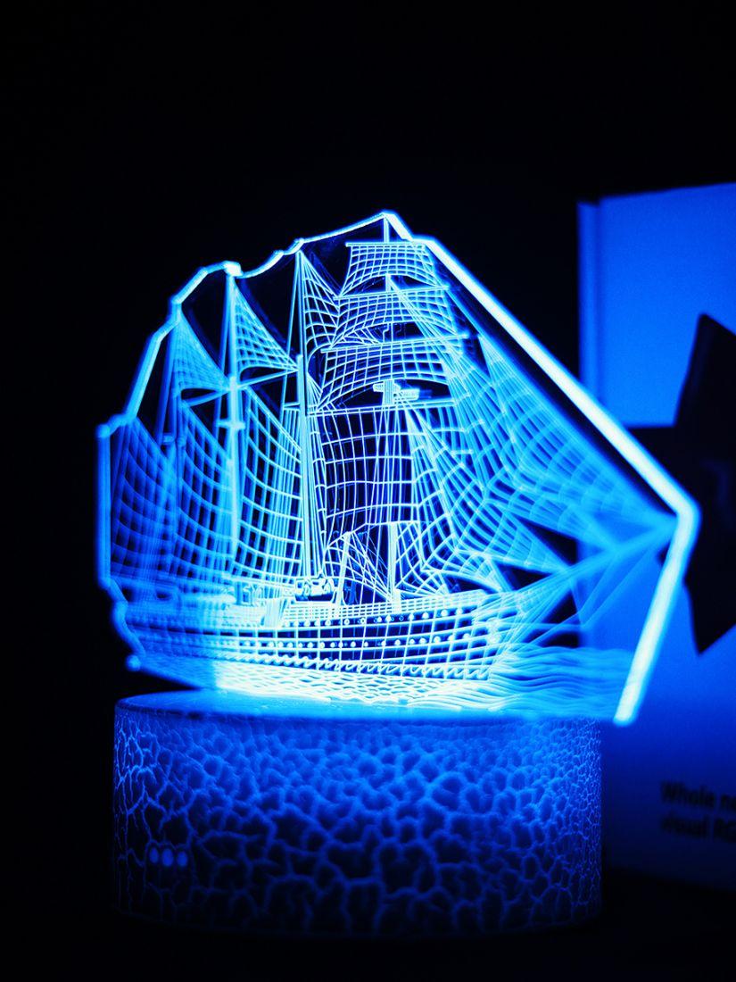 Светодиодный ночник PALMEXX 3D светильник LED RGB 7 цветов (корабль)