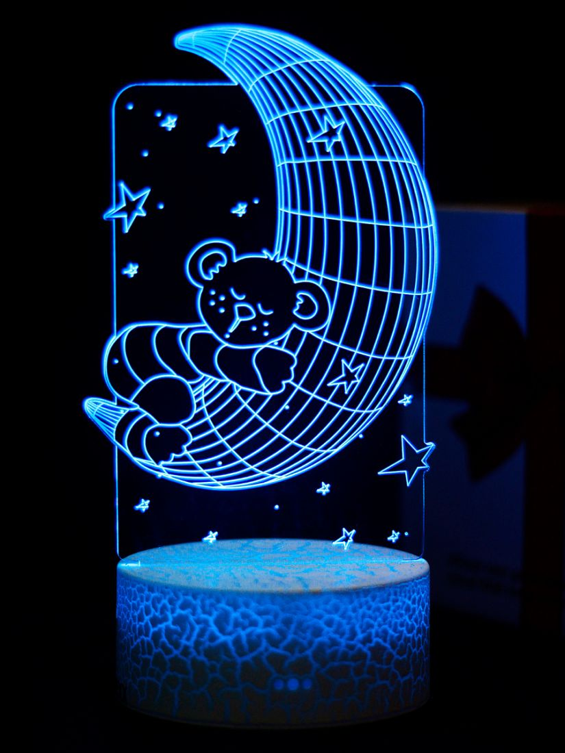 Светодиодный ночник PALMEXX 3D светильник LED RGB 7 цветов (луна с медвежонком)