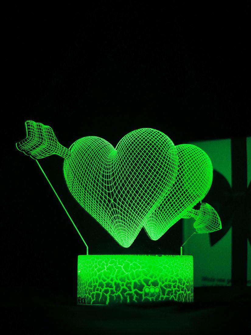 Светодиодный ночник PALMEXX 3D светильник LED RGB 7 цветов (сердца со стрелой)