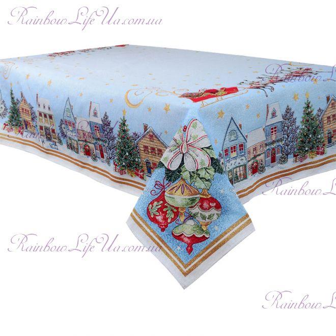 """Скатерть новогодняя гобелен с люрексом """"Санта на санях"""""""