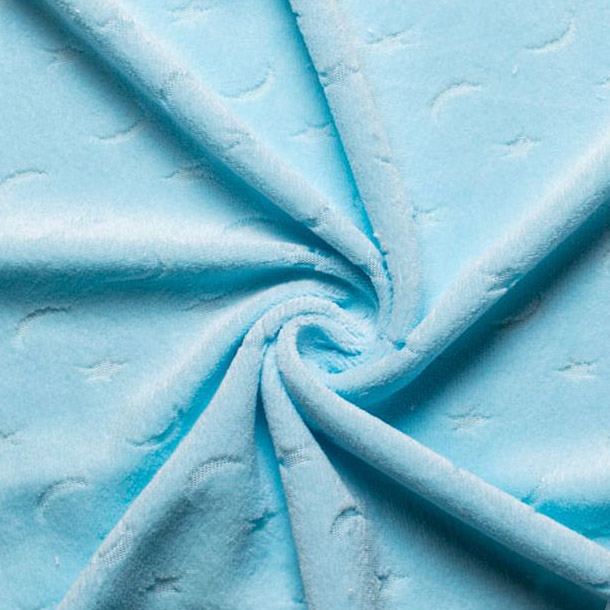 Мех искусственный Жаккард - Голубой со звездами и луной 50х37