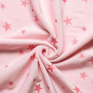 Мех искусственный Вельбоа - Розовый со звездами 50х37