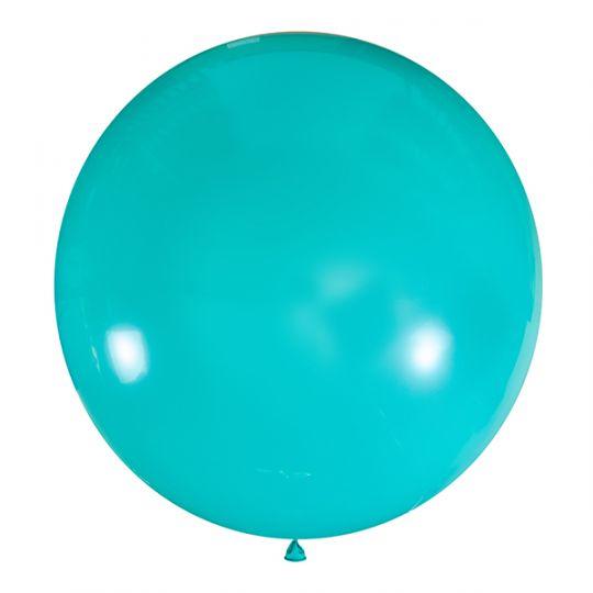 Бирюзовый метровый шар латексный с гелием