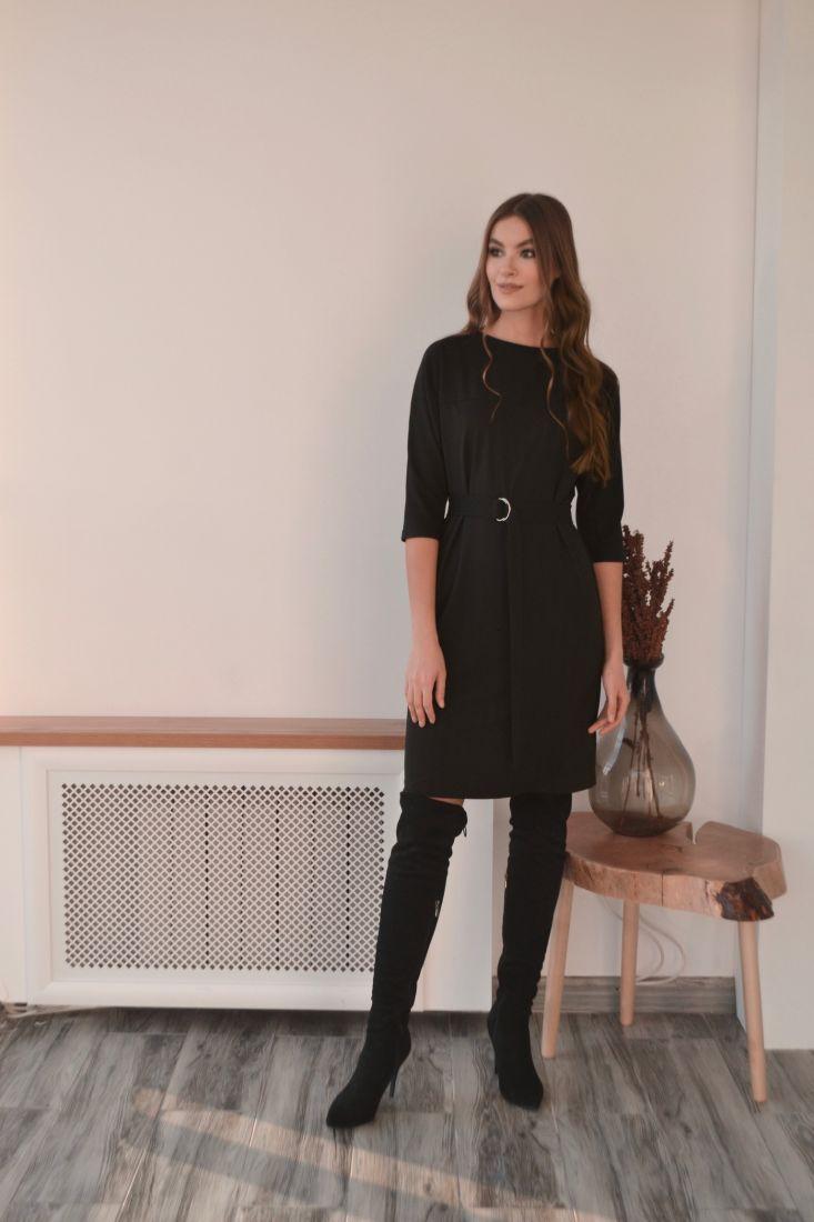 s3202 Платье из плотного трикотажа чёрное