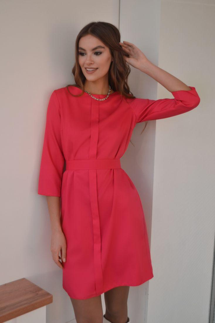 s3205 Платье с планкой неоново-розовое