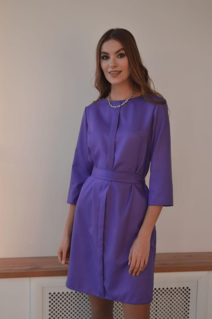 s3207 Платье с планкой фиолетовое