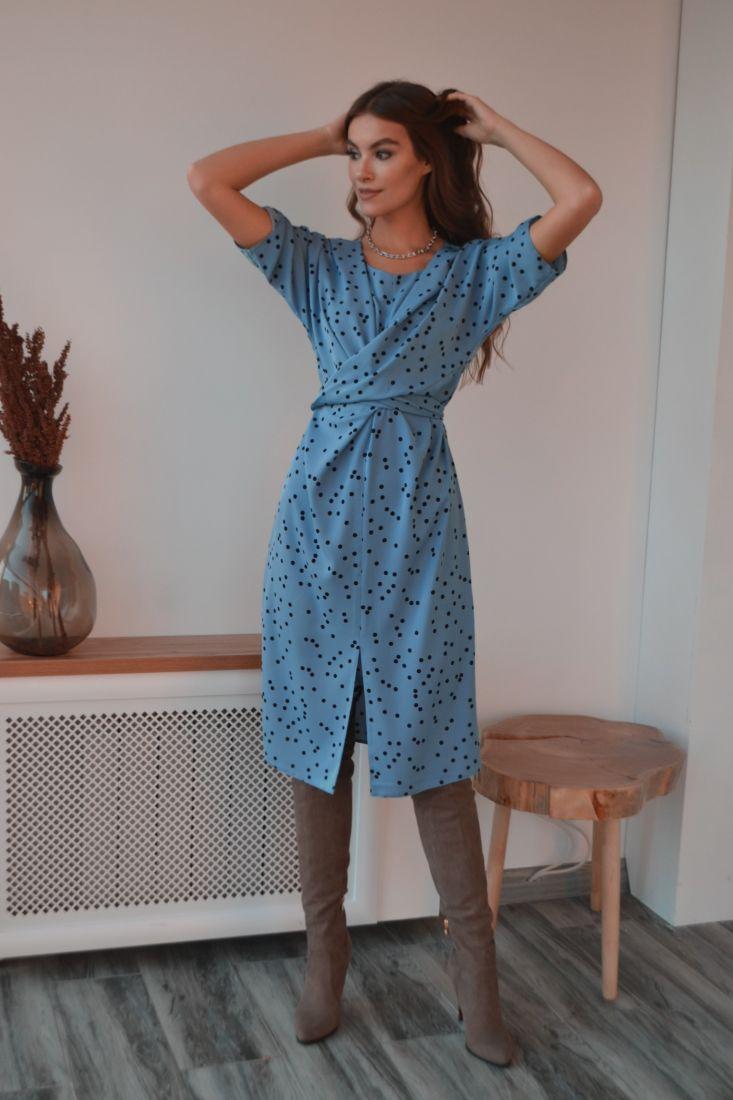 s3212 Платье с перекрутами голубое в чёрный горох