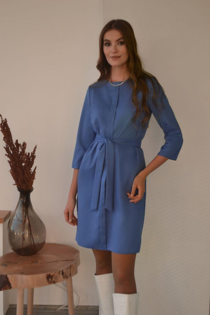 s3214 Платье с планкой голубое