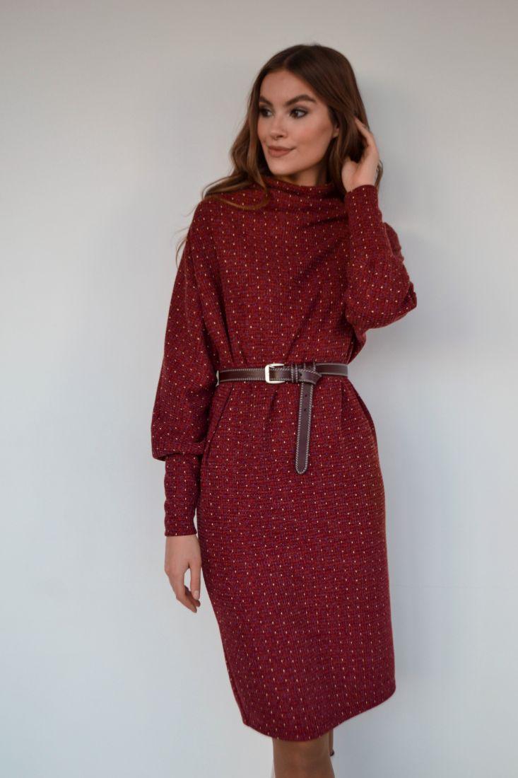 """s3217 Платье в стиле """"оверсайз"""" бордовое в крапинку"""