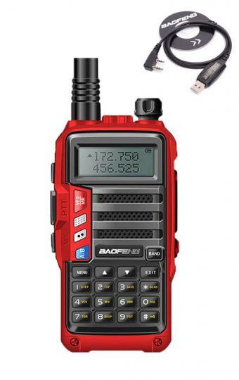 Радиостанция Baofeng UV-S9 + USB зарядка красная 5-10 км