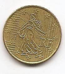 50 евроцентов Франция 1999 регулярная из обращения