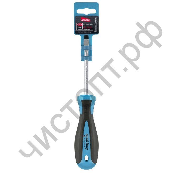 Отвертка шлицевая SL4x75, эргономичная 2х-компонентная рукоятка, CR-V, магнит, Smartbuy Tools