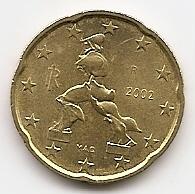 20 евроцентов Италия 2002 регулярная из обращения