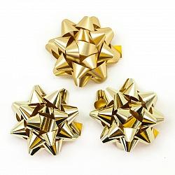 Бант Звезда, Золото, Металлик, 7 см, 12 шт.