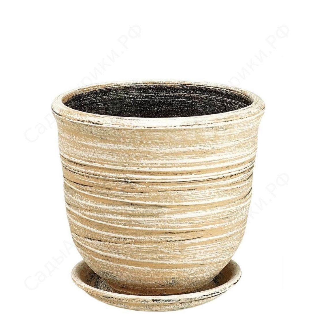 Горшок Цилиндр Волна (серый)