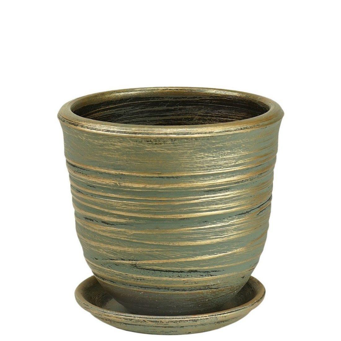 Горшок Цилиндр Волна (зеленый)