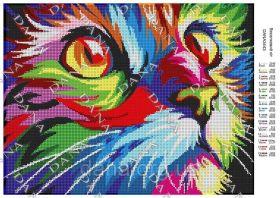 Dana DANA-3443 Радужный Кот схема для вышивки бисером купить в магазине Золотая Игла