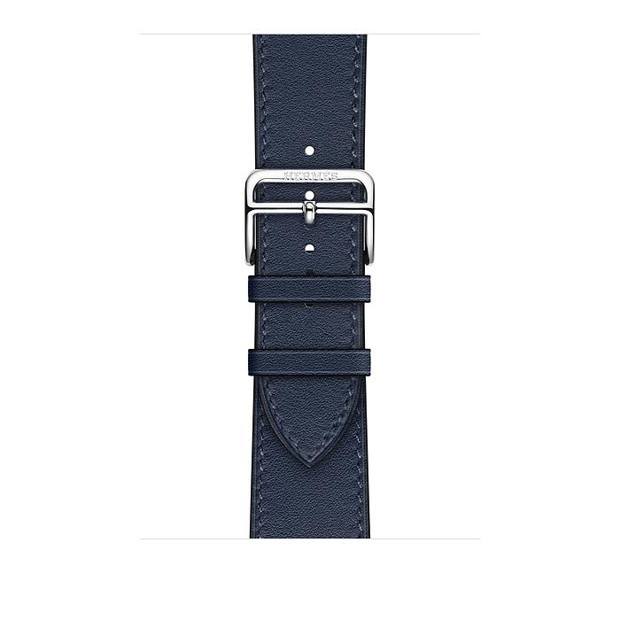Ремешок Apple Watch Hermès Bleu Navy Swift Leather Single Tour из кожи (для корпуса 44 мм)