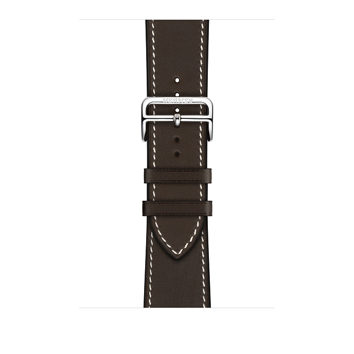Ремешок Apple Watch Hermès Ébène Leather Single Tour Deployment Buckle из кожи (для корпуса 44 мм)