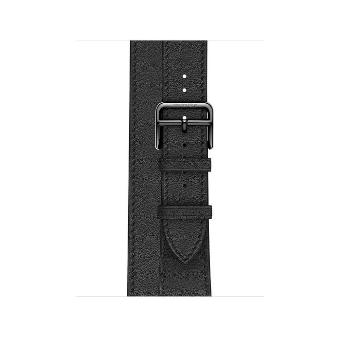 Ремешок Apple Watch Hermès Noir Swift Leather Double Tour из кожи (для корпуса 40 мм)