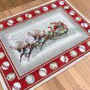 """Салфетка новогодняя гобелен с люрексом """"Санта с оленями"""""""