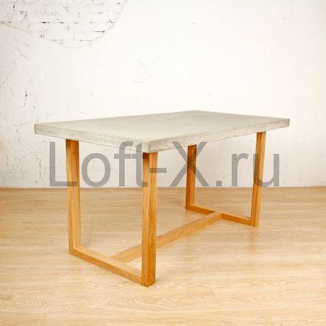 """Обеденный стол """"Дизайн О"""" с бетонной столешницей на дубовом подстолье"""