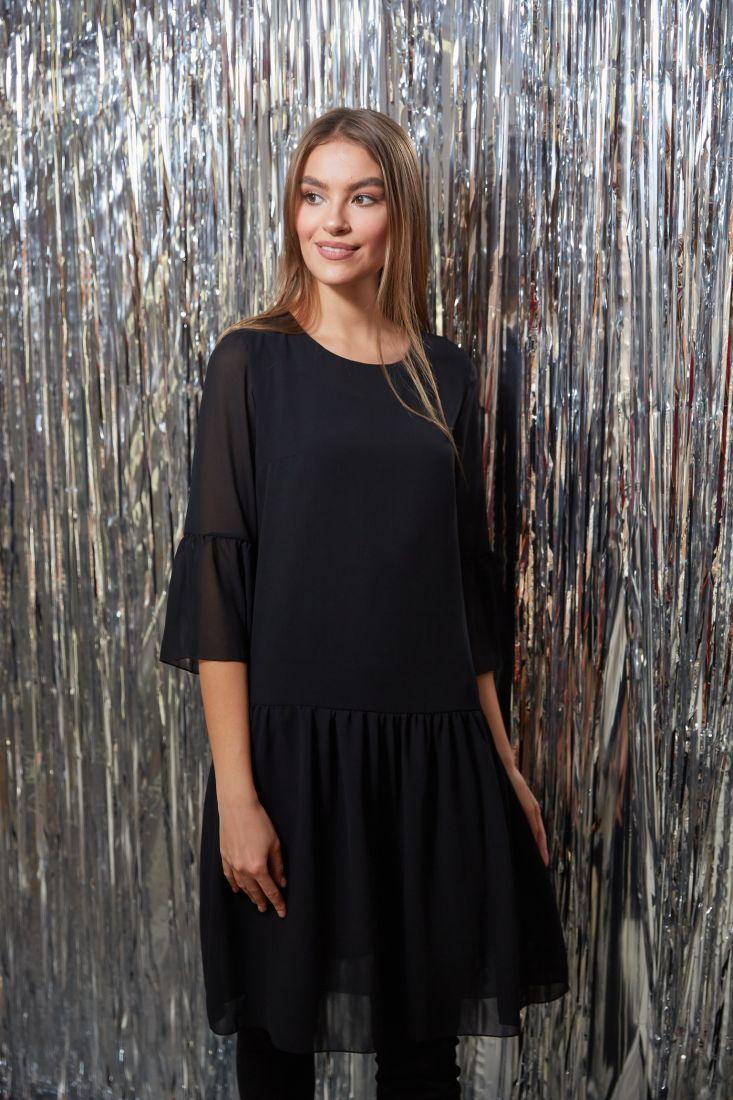 s3224 Платье с воланами из микрошифона чёрное