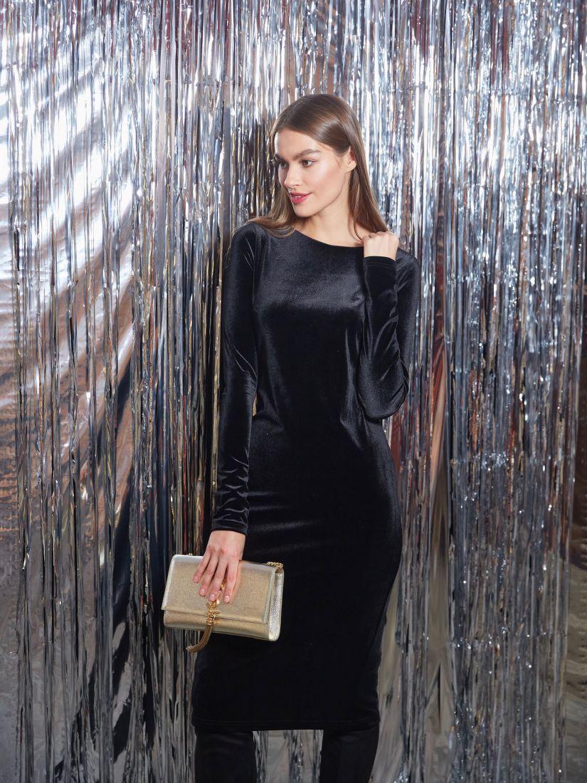 s3228 Платье чёрное бархатное