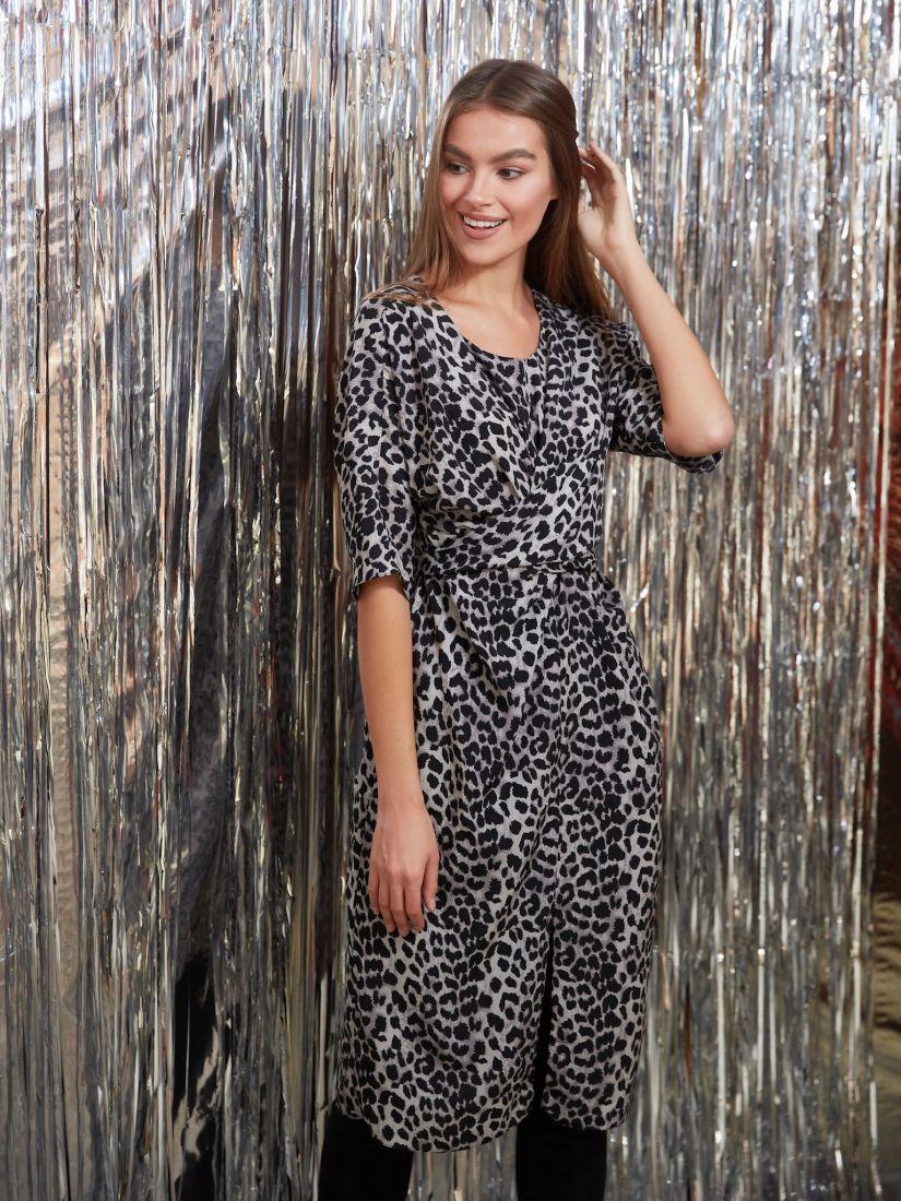 s3231 Платье с перекрутами с леопардовым принтом