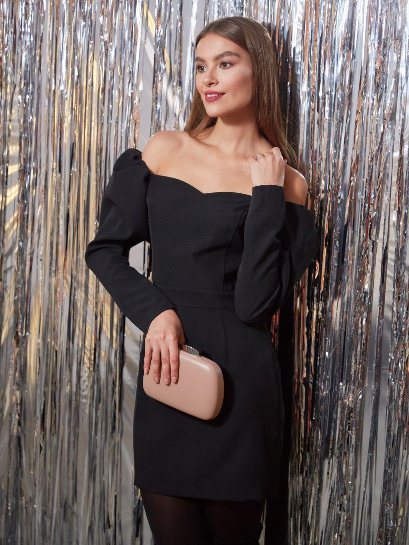 s3250 Платье-мини чёрное с открытыми плечами