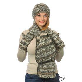 Комплект шапка, шарф, варежки вязаный из Исландской шерсти 08197-69