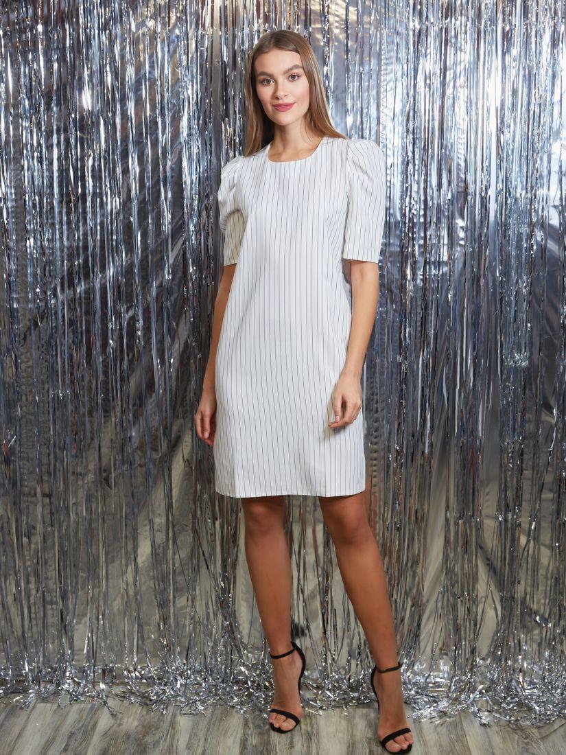 s3251 Платье с объёмными рукавами белое в полоску