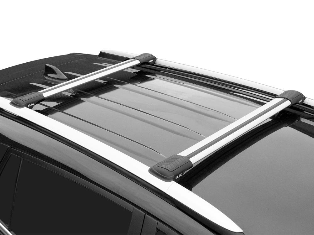 Багажник на рейлинги Škoda Roomster 2010-15, Lux Hunter, серебристый, крыловидные аэродуги
