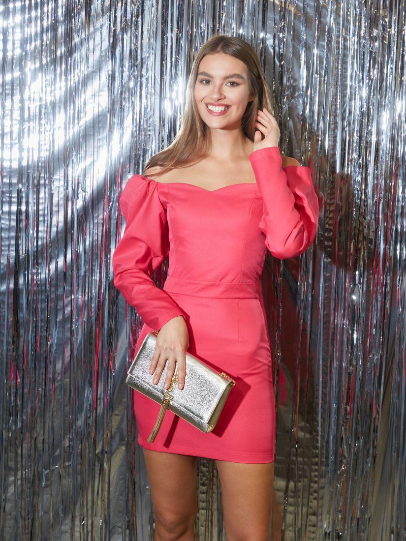 s3261 Платье-мини в цвете pink с открытыми плечами