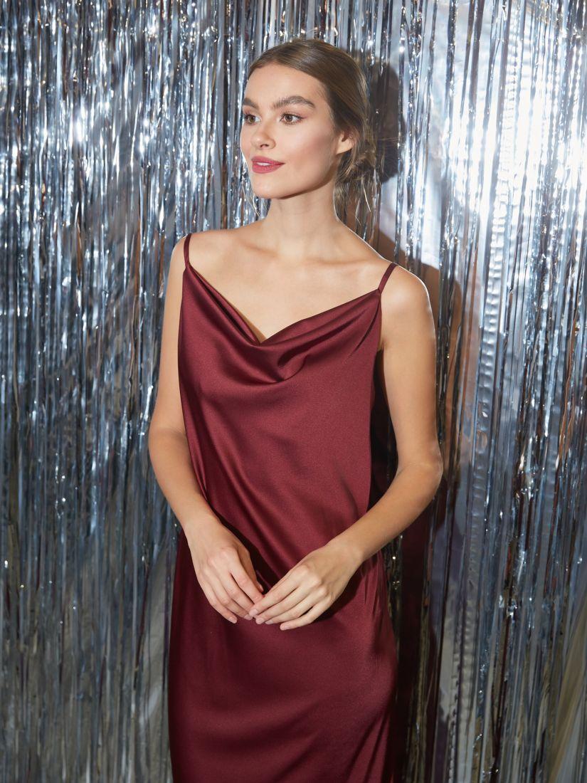 s3267 Платье-комбинация из шёлка marsala