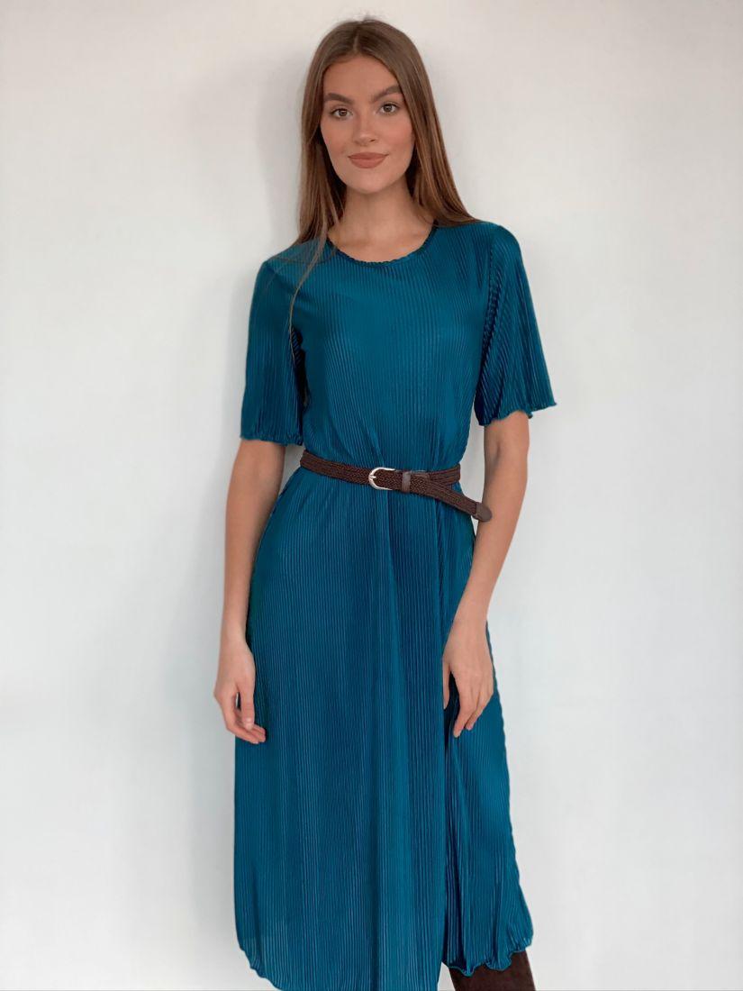 s2120 Платье-гофре свободного силуэта в цвете тёмной морской волны