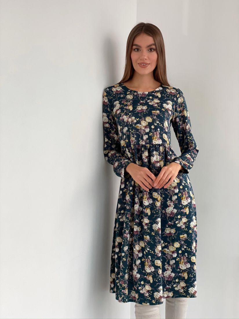 s3277 Платье сине-зелёное с цветами