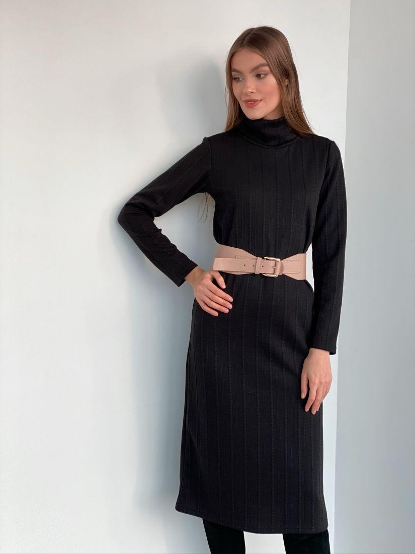 s3279 Платье-свитер чёрное с жаккардовыми косами