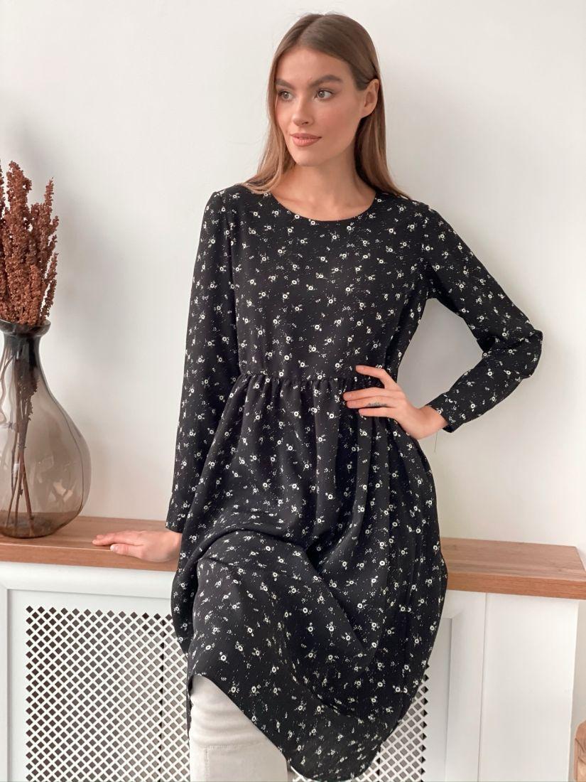 s3282 Платье чёрное с мелким принтом