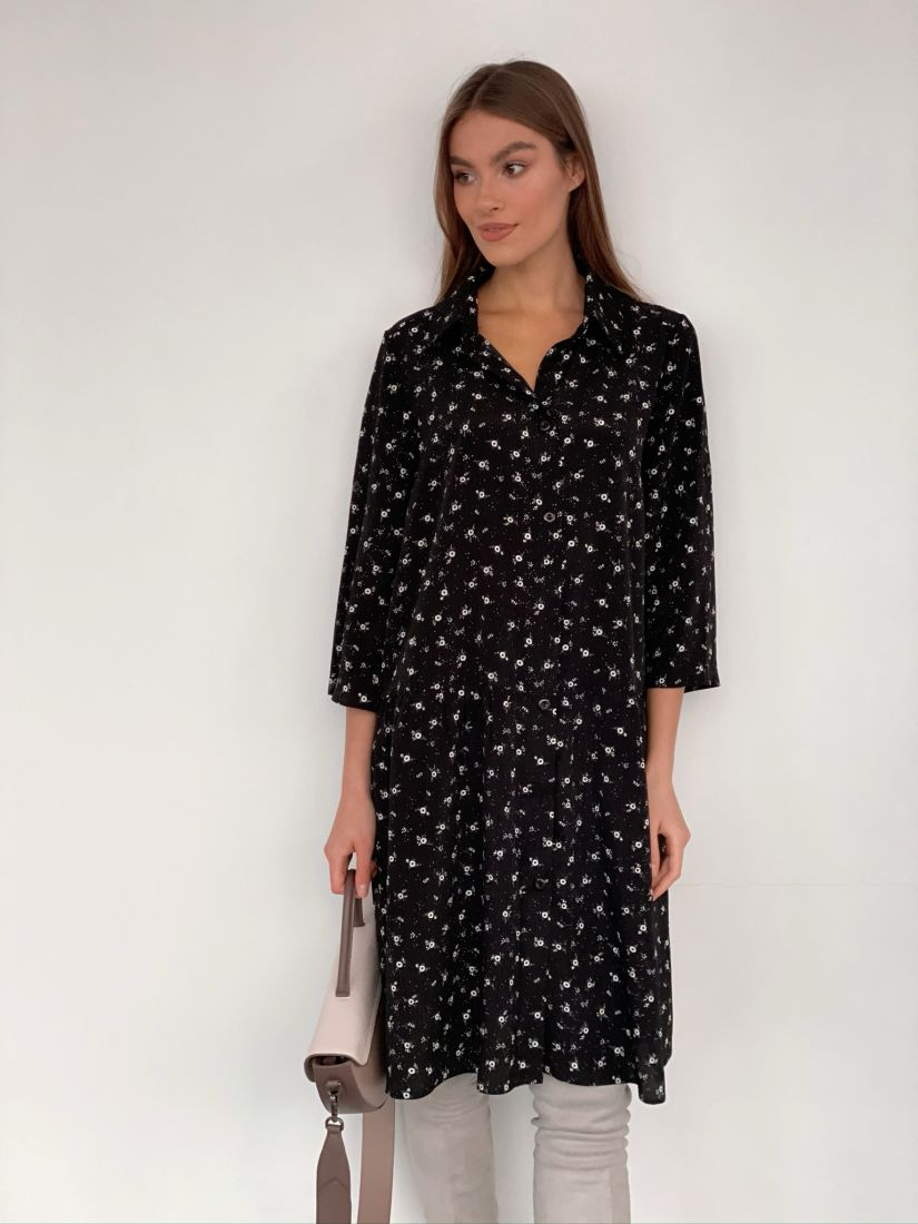 s3283 Платье-рубашка с воланом чёрное с мелким принтом