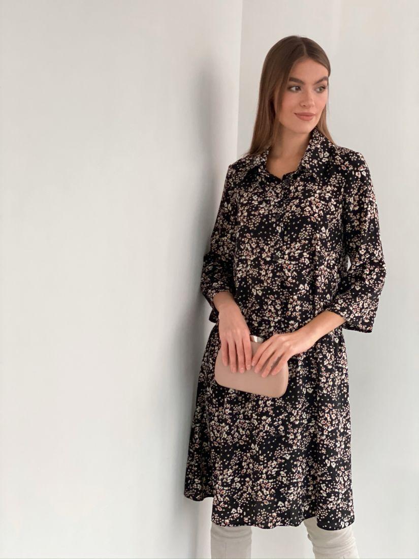 s3285 Платье-рубашка с воланом чёрное с цветами