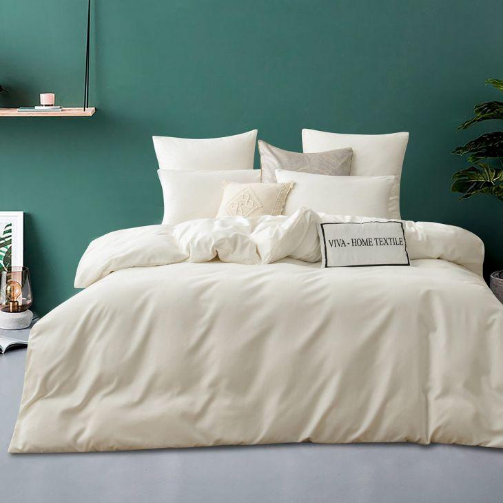 Комплект постельного белья Сатин однотонный CS037 белый