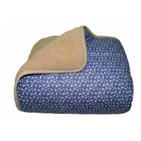 Одеяло меховое из открытой овечьей шерсти Цветочек синий