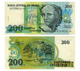 БРАЗИЛИЯ - 200 крузейро 1990 ПРЕСС UNC. Мультилот