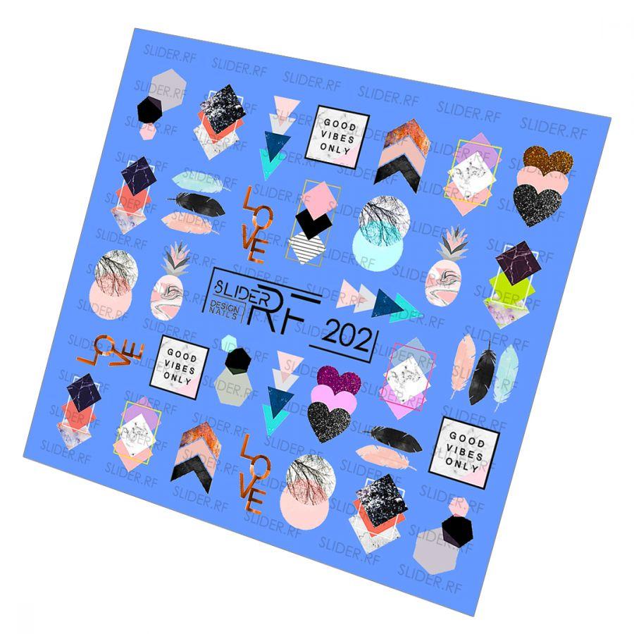 Слайдер дизайн SLIDER RF design nails (74мм х 71мм) -202- СЛАЙДЕР РФ