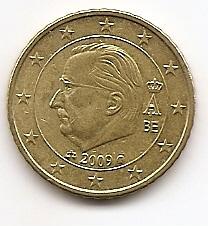 50 евроцентов Бельгия 2009 регулярная из обращения