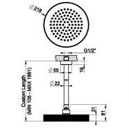 Тропический душ Gessi Anello 63450 21,8х21,8 высота под заказ