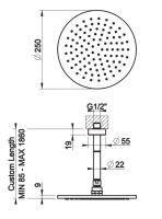 Тропический душ Gessi Anello 63350 25х25 высота под заказ
